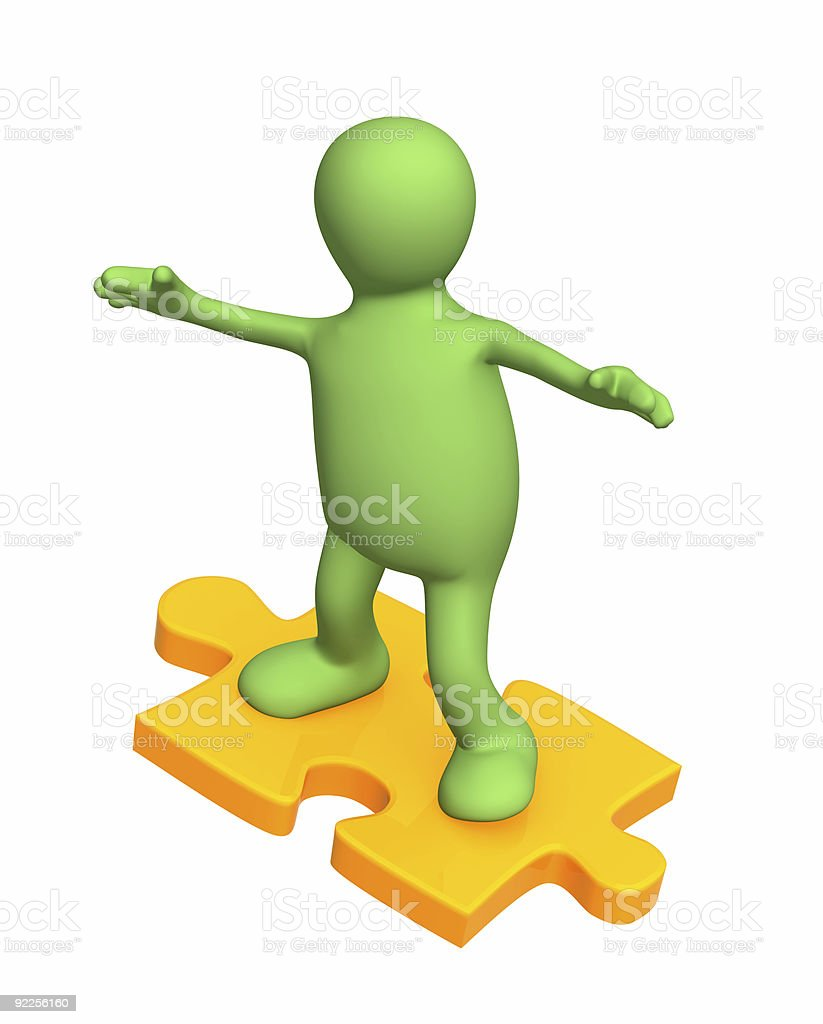 3d person puppet sliding on slice puzzle royalty-free stock photo