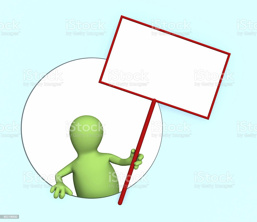 3d person - puppet with the blank poster stock photo