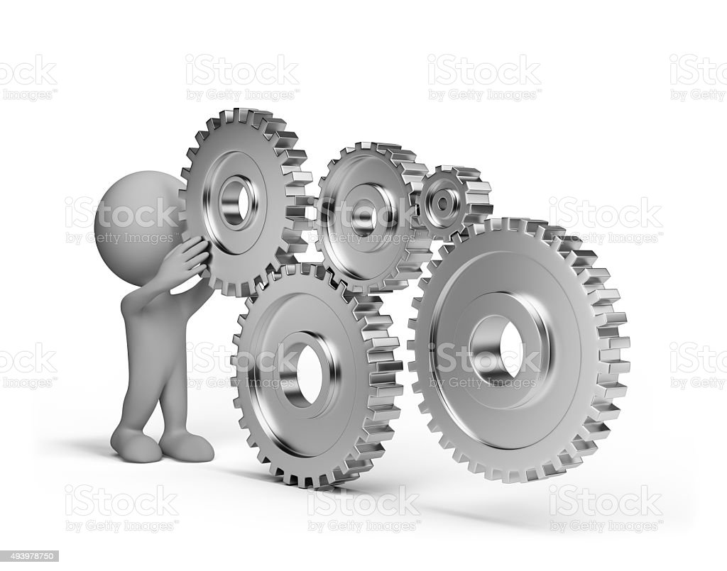 3d person with a gears wheel stock photo