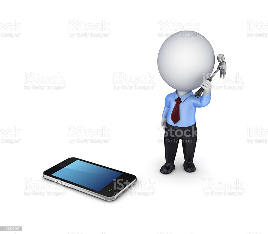 3d person with a hammer and mobile phone. stock photo