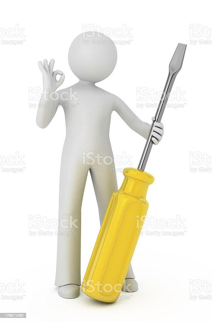 3d person with a screwdriver. royalty-free stock photo