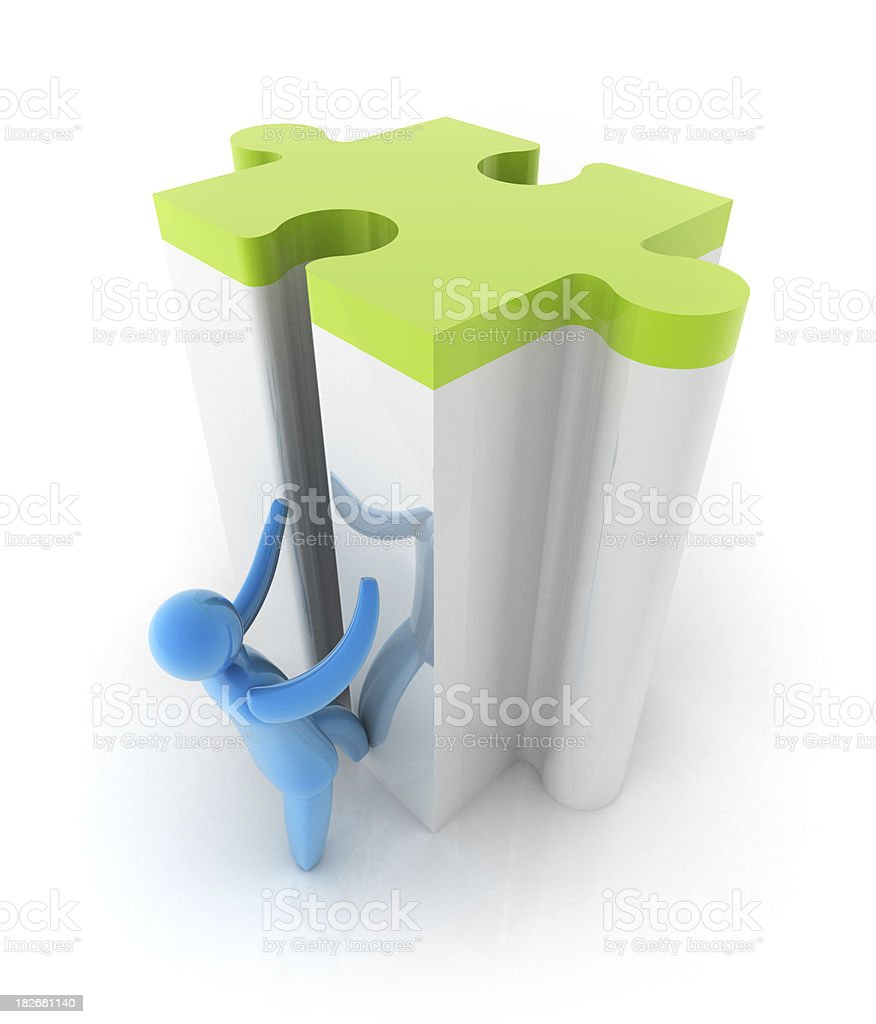 3d person with puzzle royalty-free stock photo