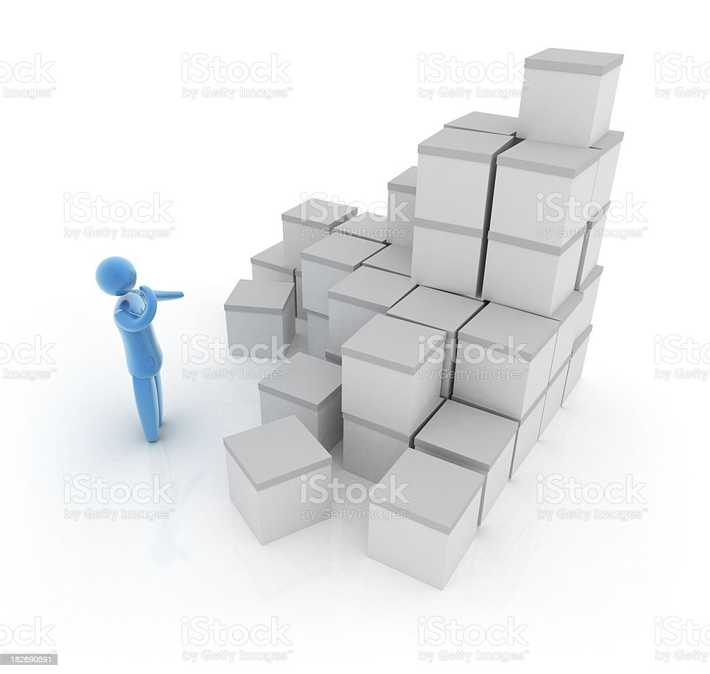 3d person with white boxex royalty-free stock photo