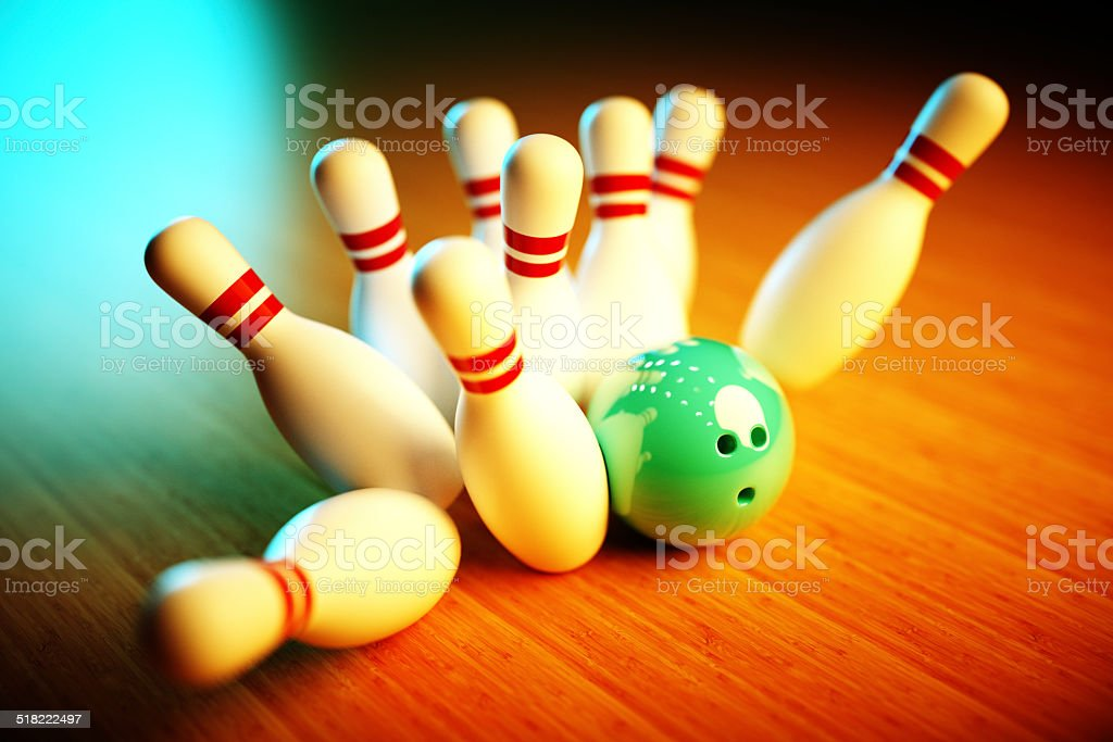 3d Photo-realistic image of bowling scene with vivid background stock photo