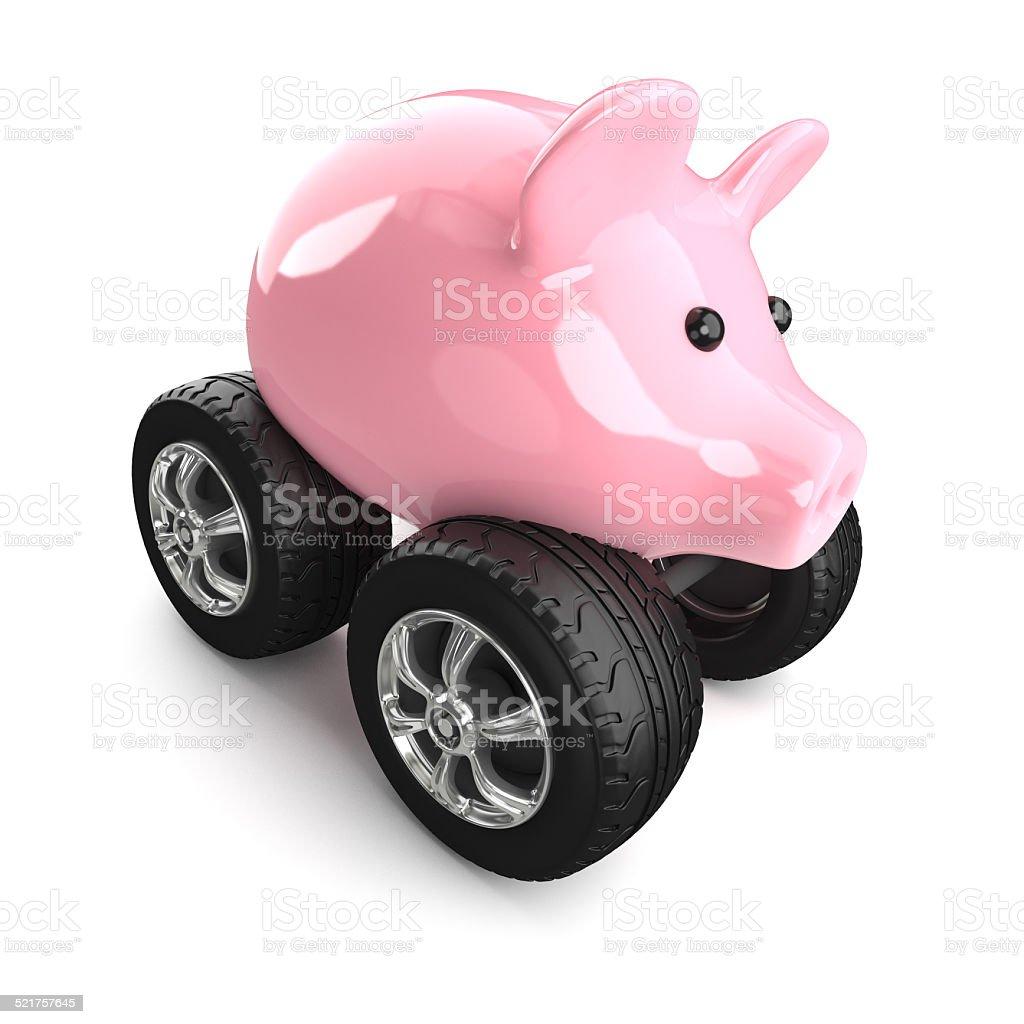 3d Piggy bank on wheels stock photo
