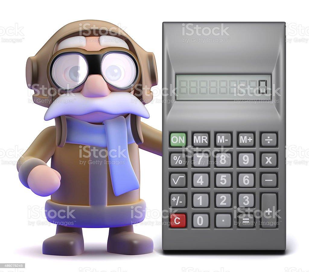 3d Pilot calculations stock photo