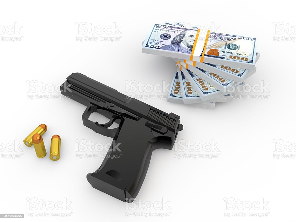 3d pistol bullets and money stack stock photo