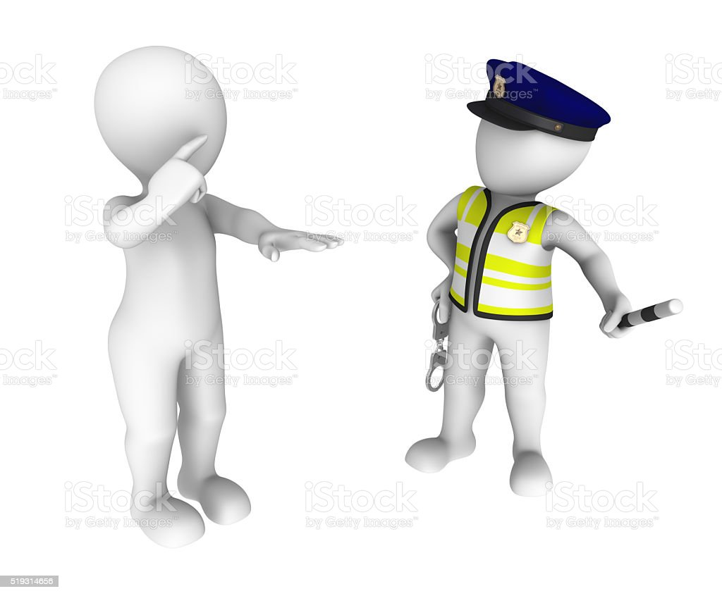 3d policeman and drunk driver. Sobriety test stock photo