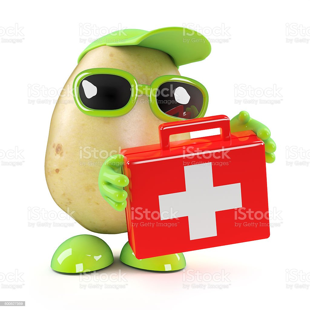 3d Potato with first aid kit royalty-free stock photo