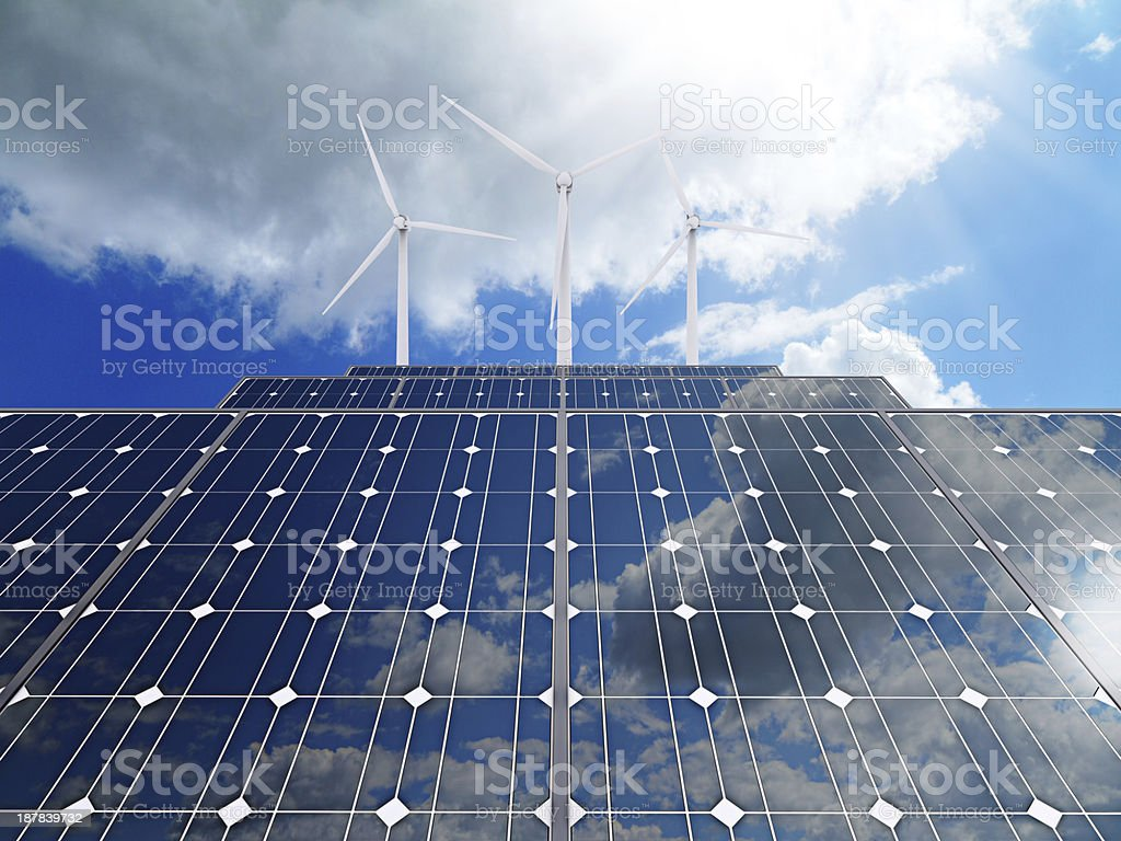 3d Powerplant with photovoltaic panels and eolic turbine stock photo