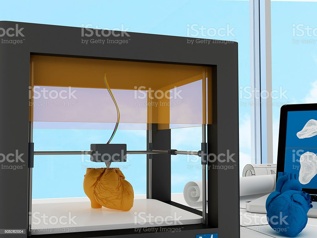 3d printed heart stock photo