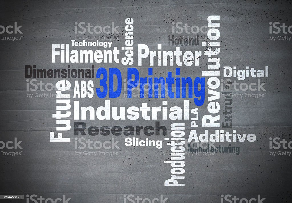 3d Printing Industrial Revolution word cloud konzept stock photo