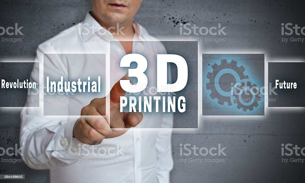 3d printing touchscreen concept background stock photo
