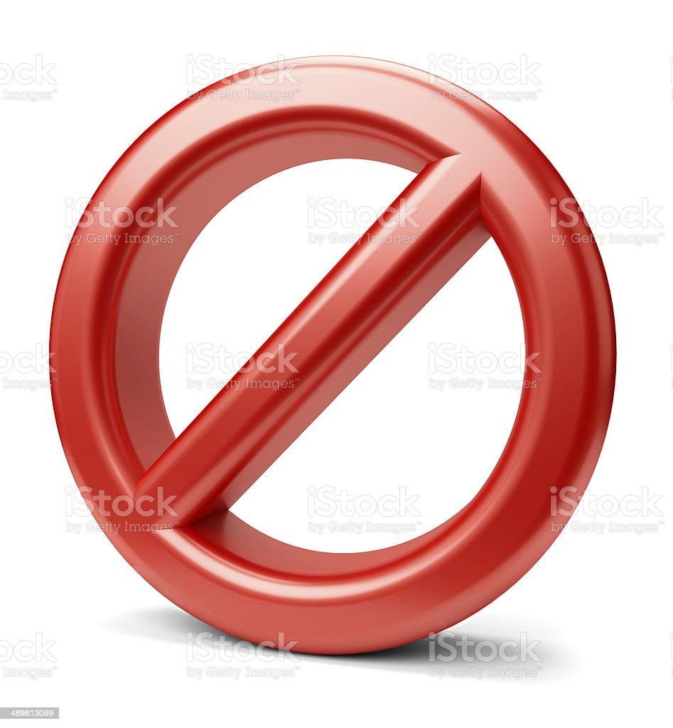 3d prohibited sign stock photo