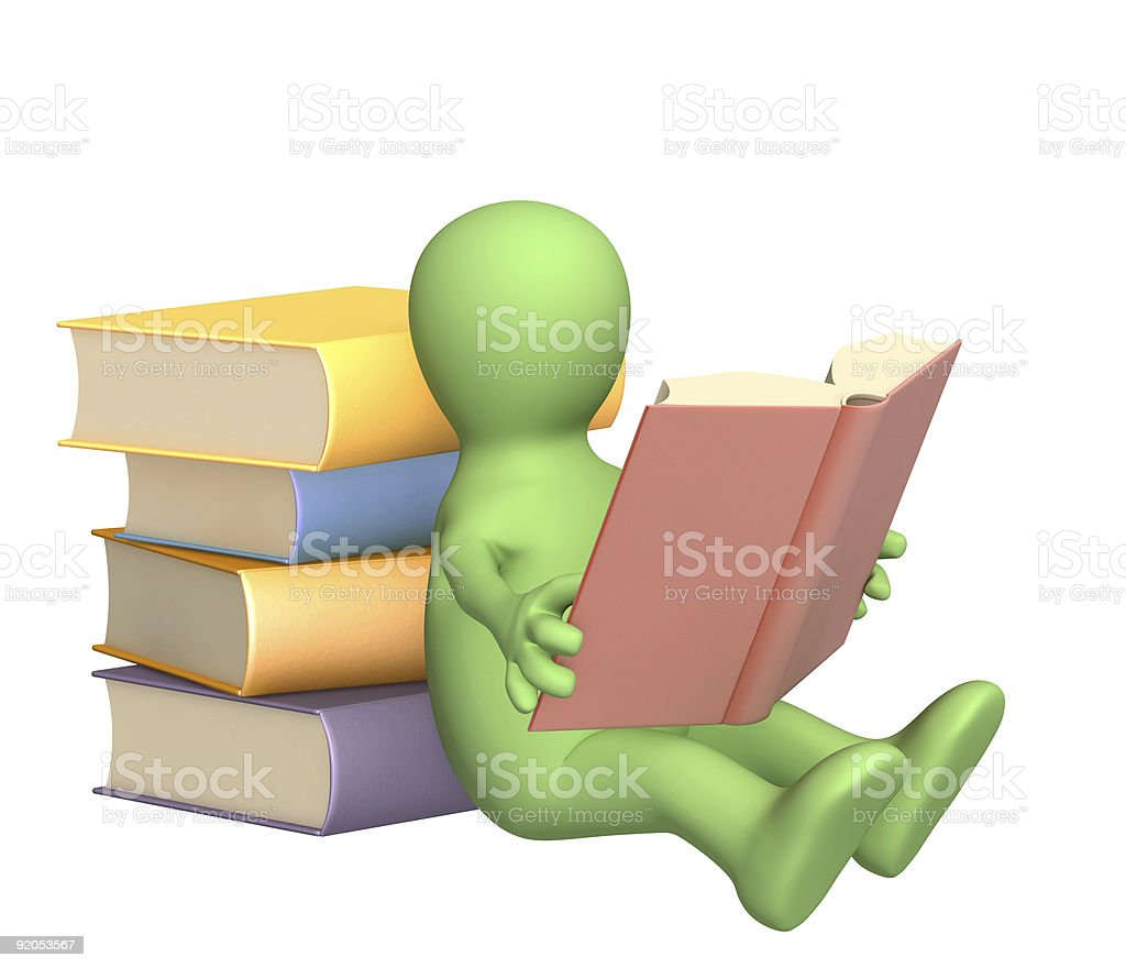 3d puppet, reading the book royalty-free stock photo