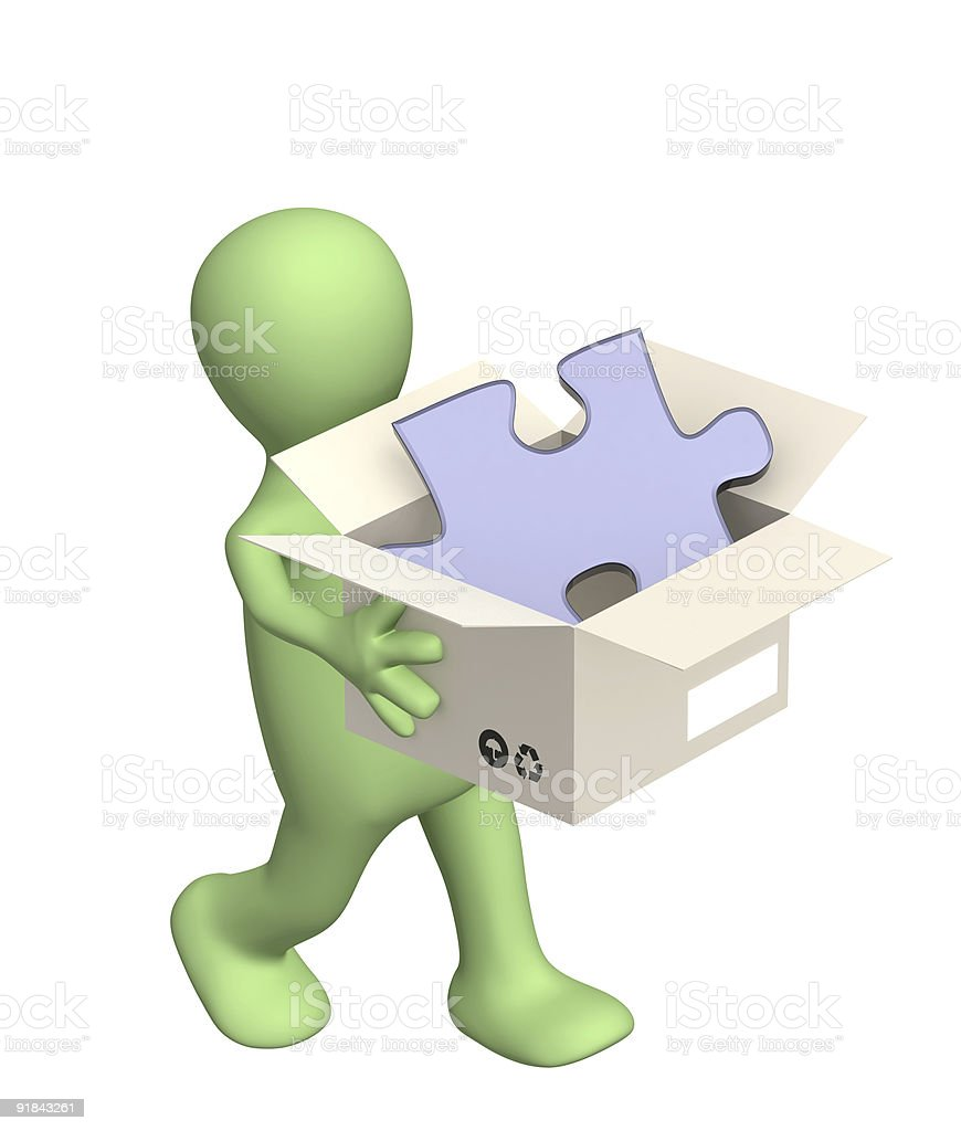 3d puppet with box royalty-free stock photo