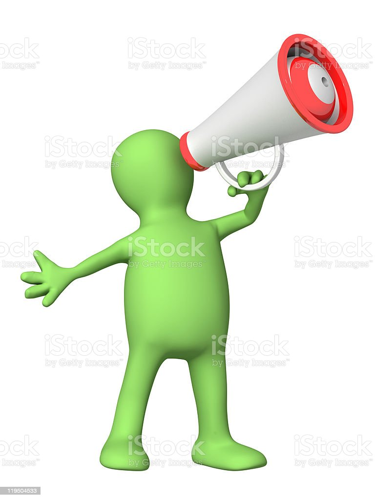 3d puppet with megaphone royalty-free stock photo