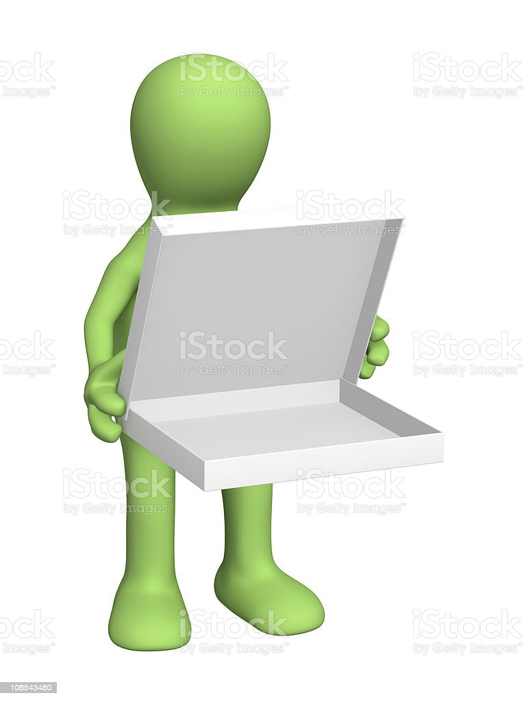 3d puppet with opened box royalty-free stock photo