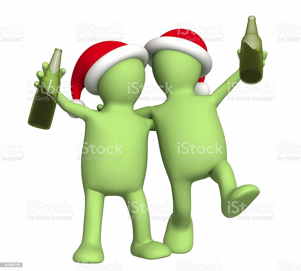 3d puppets - friends celebrating Christmas royalty-free stock photo