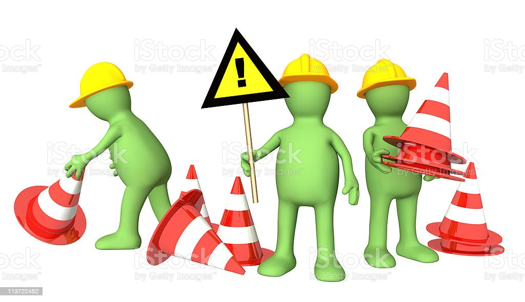 3d puppets with emergency cones royalty-free stock photo