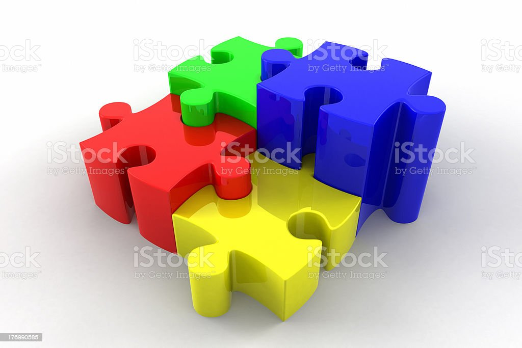 3d Puzzle Pieces Interlocking royalty-free stock photo