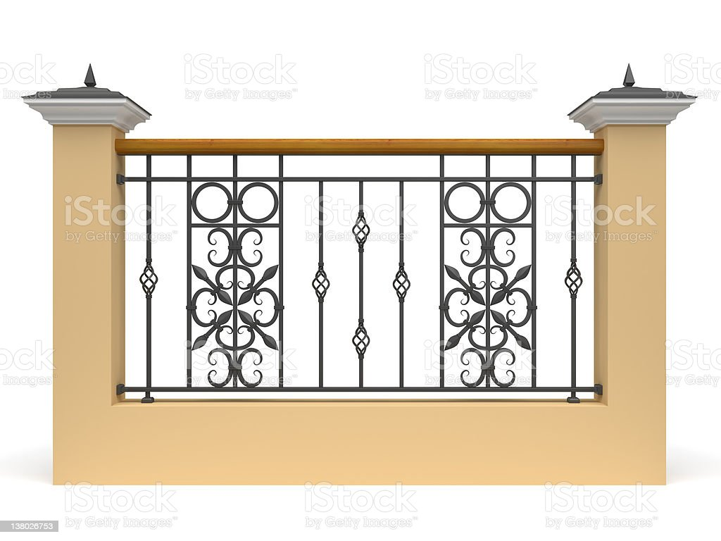 3d railing with wrought iron decor stock photo