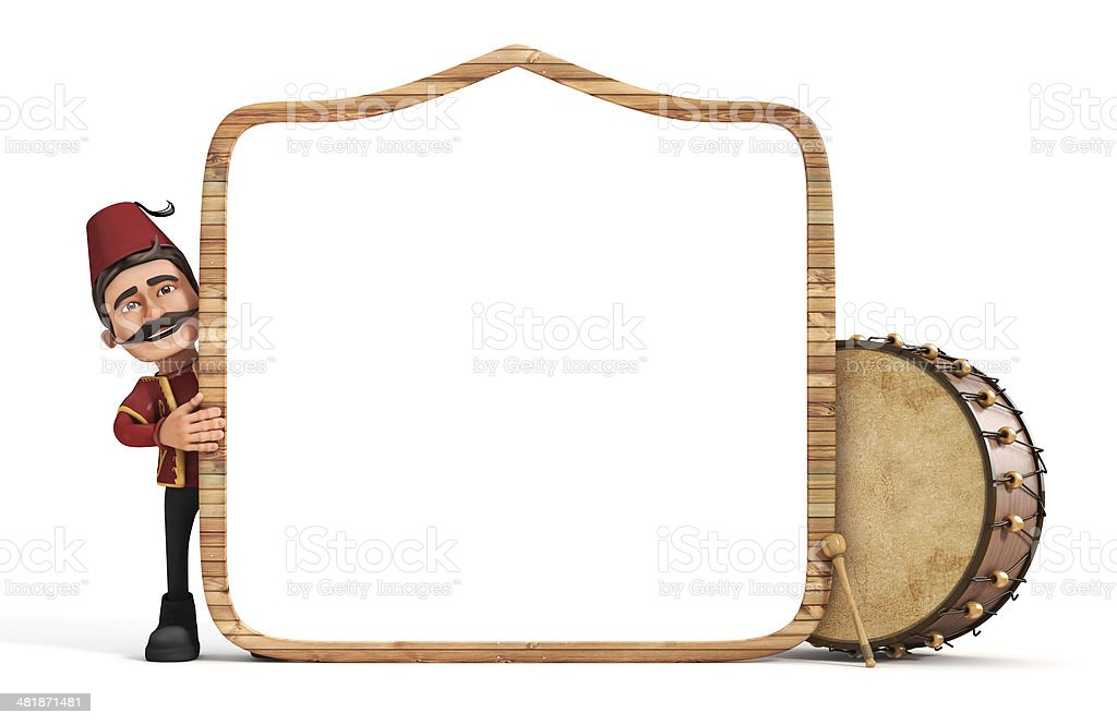 3d ramadan drummer with wooden frame and drum stock photo