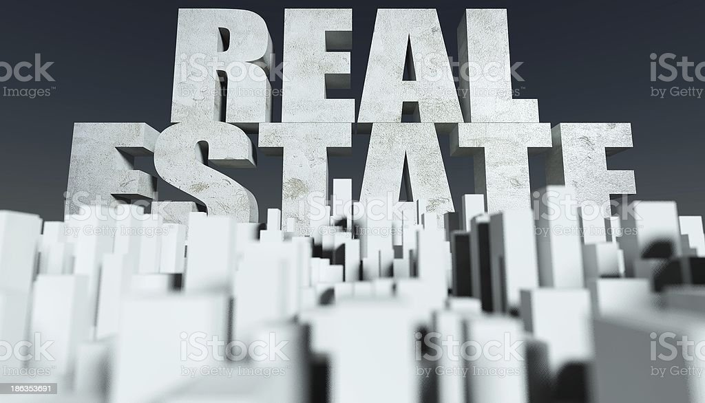 3d Real Estate concept, model of cityscape stock photo