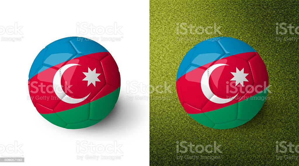 3d realistic soccer ball with the flag of Azerbaijan. stock photo