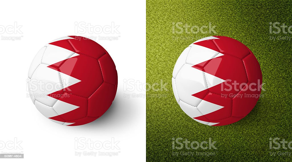 3d realistic soccer ball with the flag of Bahrain. stock photo