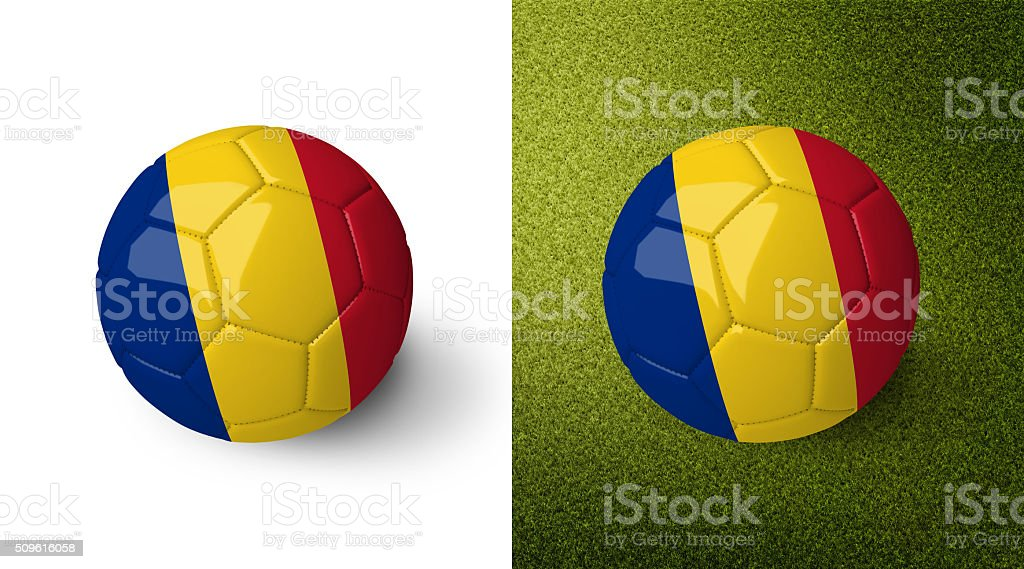 3d realistic soccer ball with the flag of Chad. stock photo