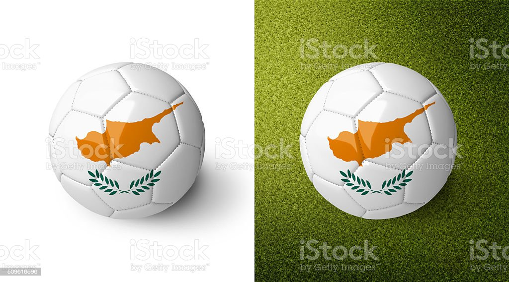 3d realistic soccer ball with the flag of Cyprus. stock photo