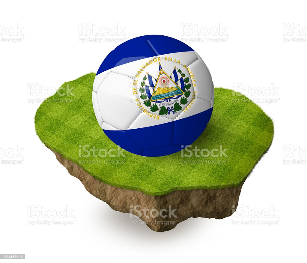 3d realistic soccer ball with the flag of El Salvador. stock photo