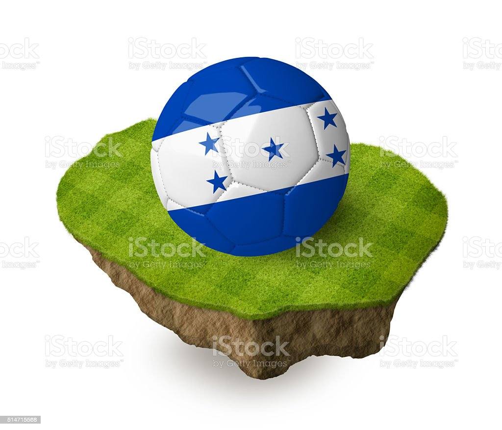 3d realistic soccer ball with the flag of Honduras. stock photo
