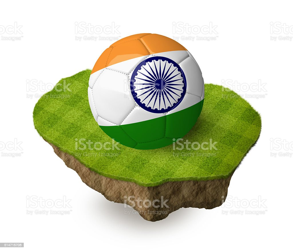 3d realistic soccer ball with the flag of India. stock photo