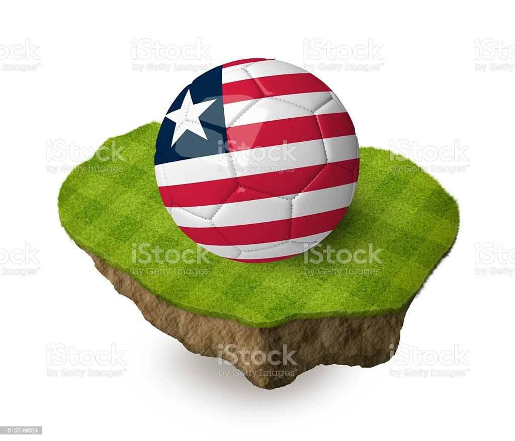 3d realistic soccer ball with the flag of Liberia. stock photo