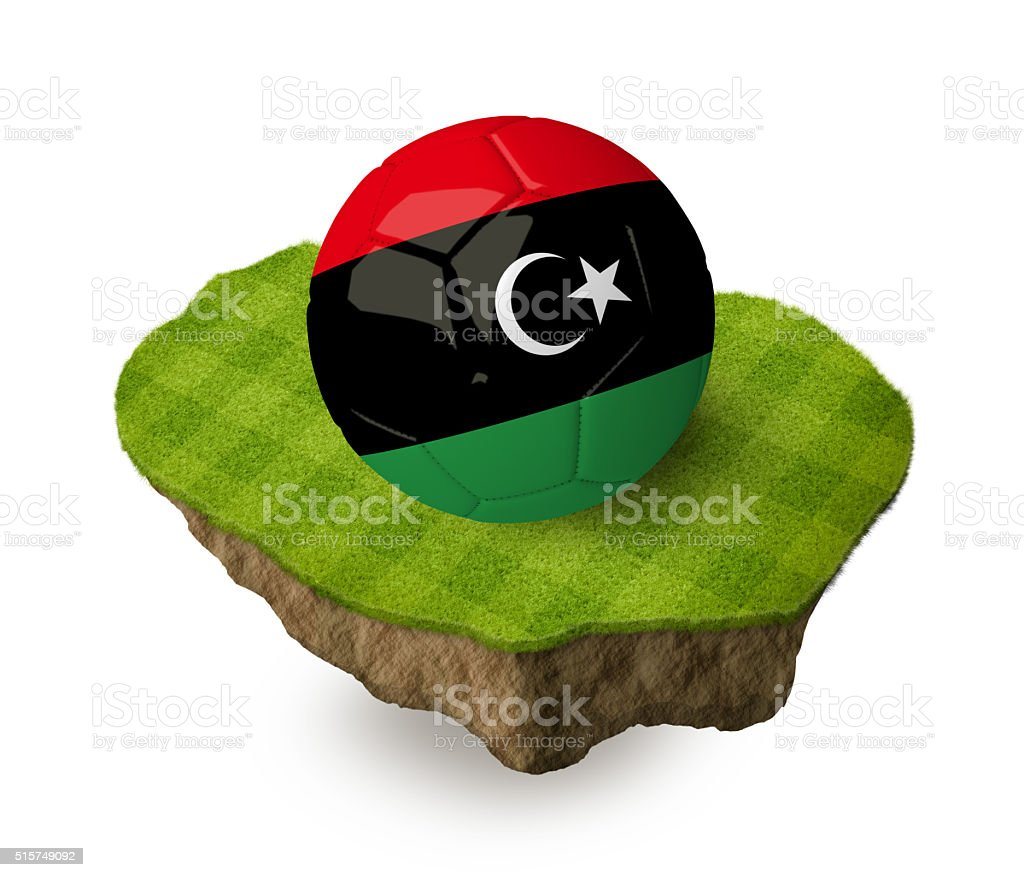 3d realistic soccer ball with the flag of Libya. stock photo