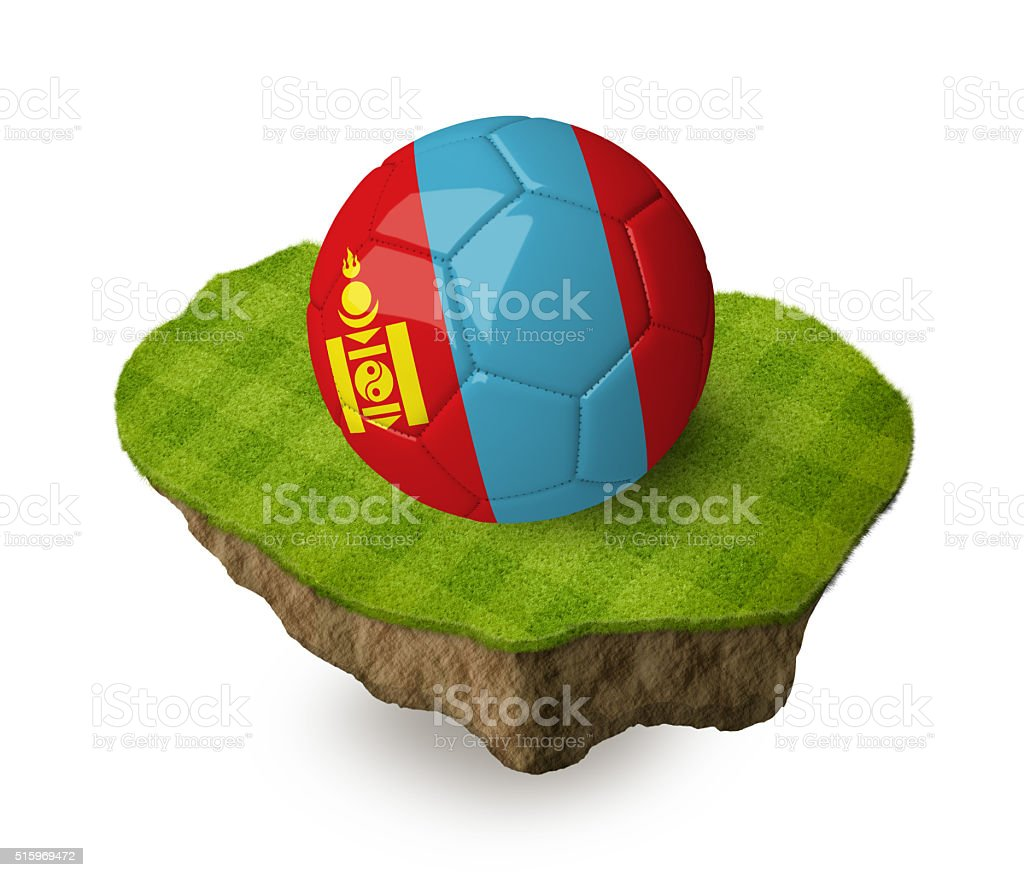 3d realistic soccer ball with the flag of Mongolia. stock photo