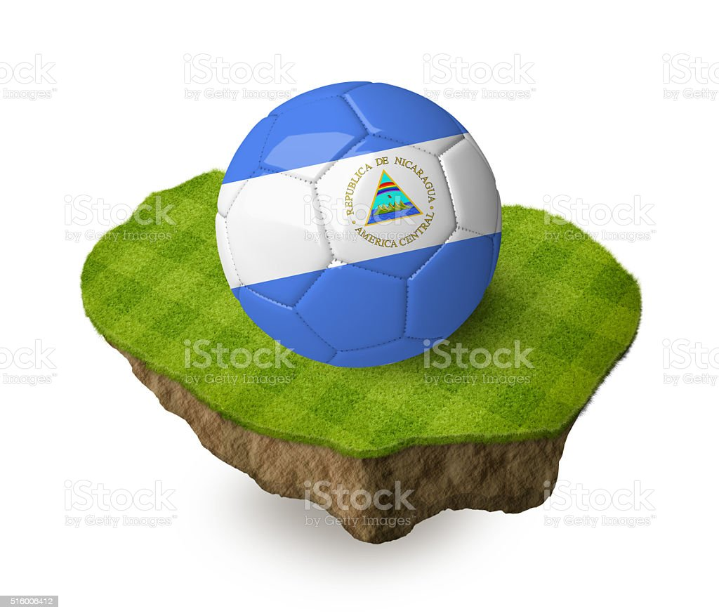 3d realistic soccer ball with the flag of Nicaragua. stock photo