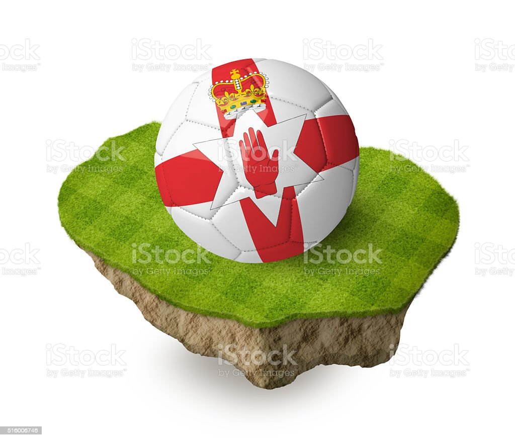 3d realistic soccer ball with the flag of Northern Ireland. stock photo