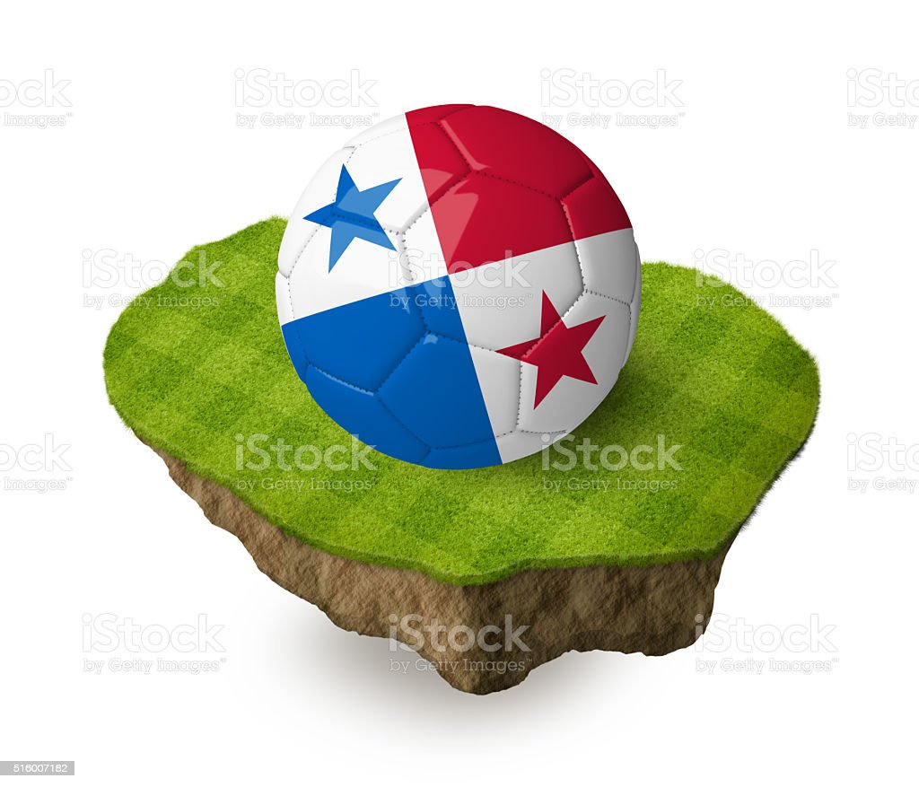 3d realistic soccer ball with the flag of Panama. stock photo