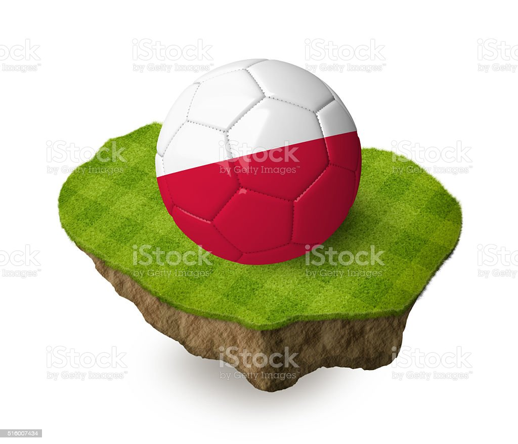 3d realistic soccer ball with the flag of Poland. stock photo