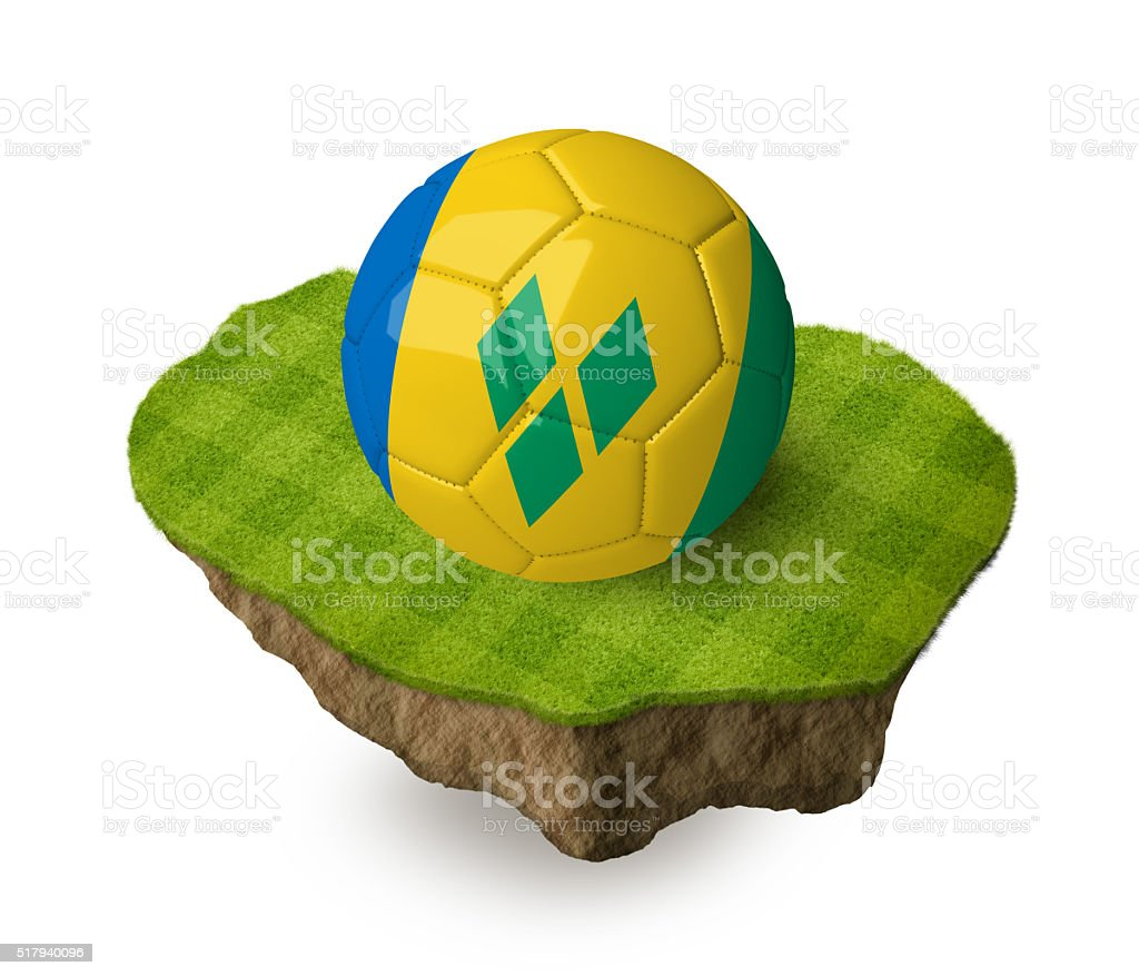 3d realistic soccer ball with the flag of Saint Vincent. stock photo