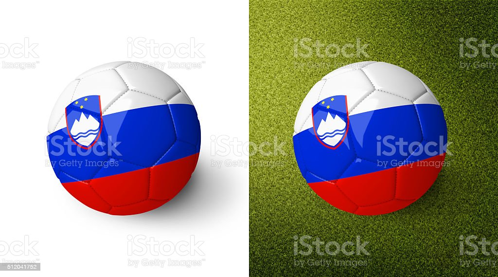 3d realistic soccer ball with the flag of Slovenia. stock photo