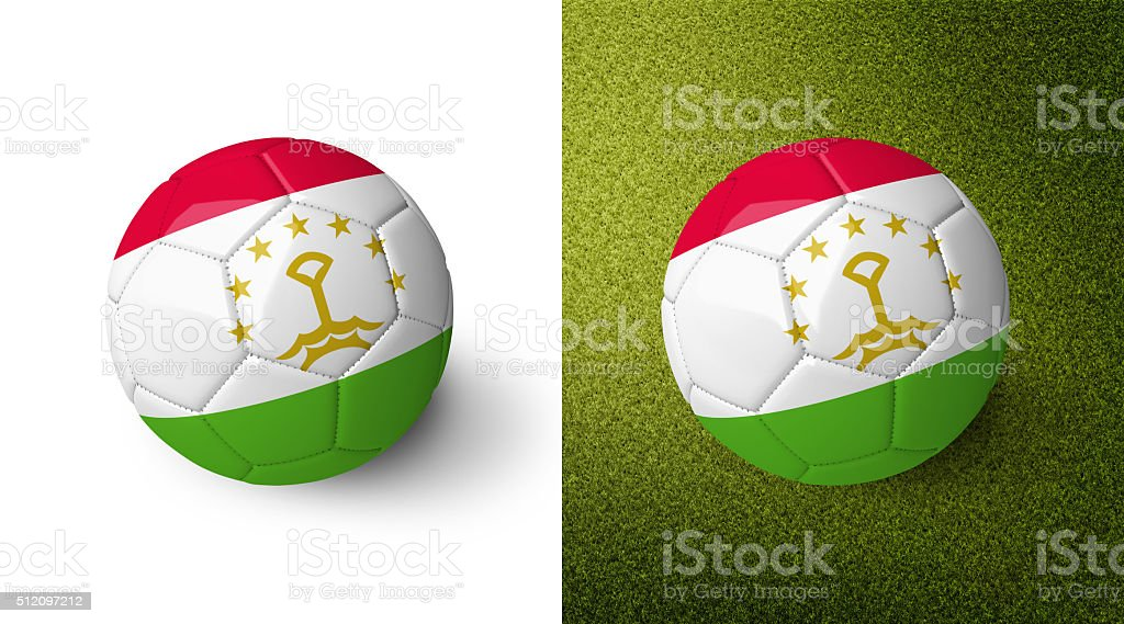 3d realistic soccer ball with the flag of Tajikistan. stock photo