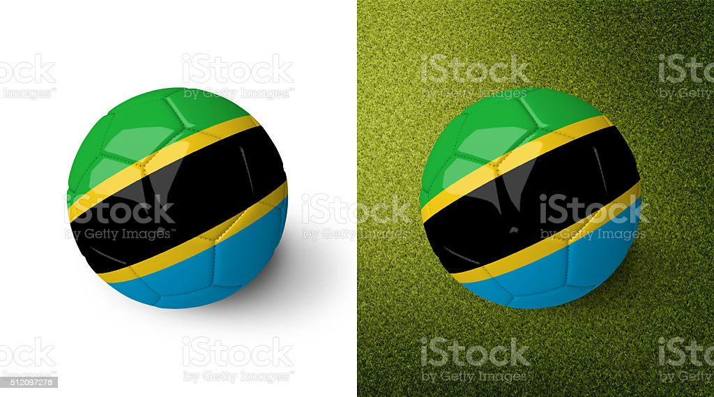 3d realistic soccer ball with the flag of Tanzania. stock photo