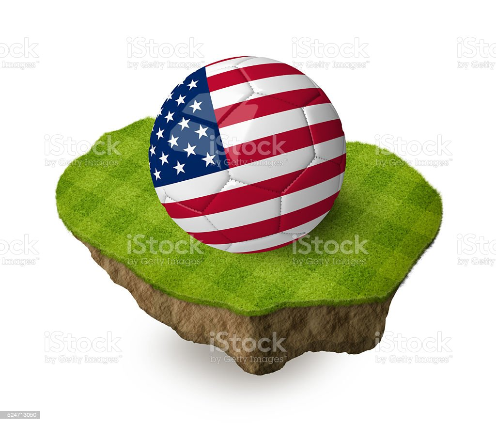 3d realistic soccer ball with the flag of the USA. stock photo