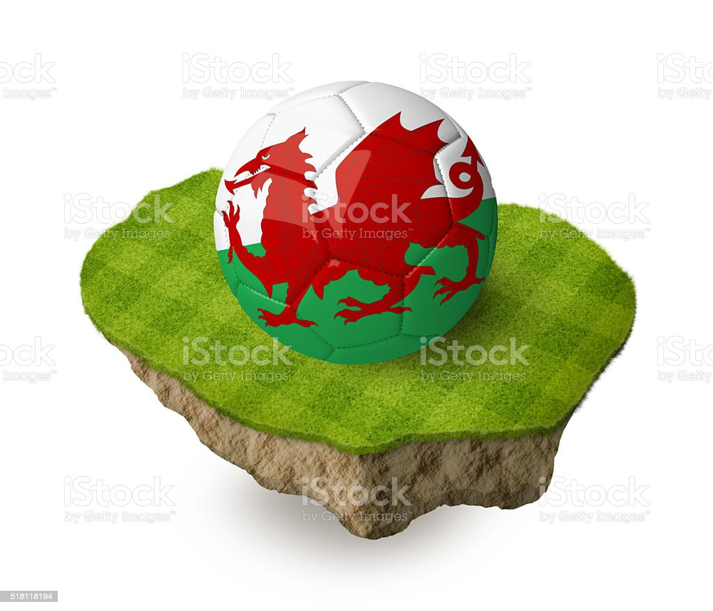 3d realistic soccer ball with the flag of Wales. stock photo