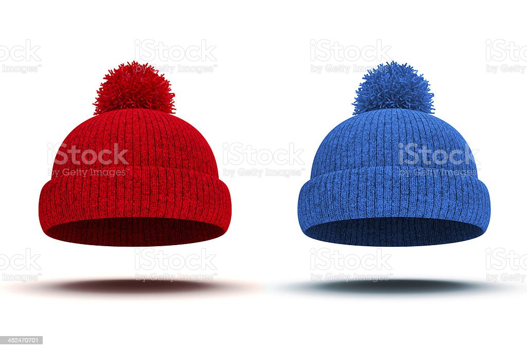 3d red and blue knitted winter cap on white background stock photo