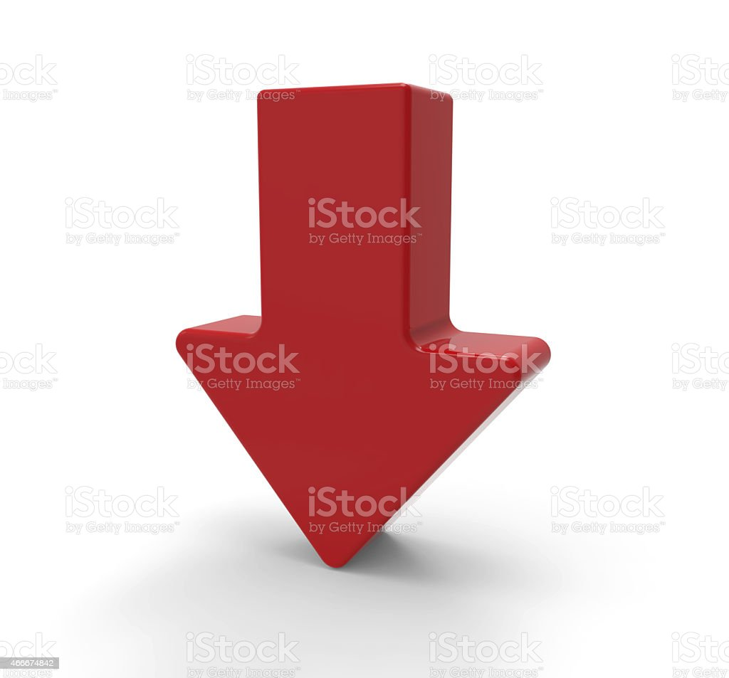 3d red arrow, downwards stock photo